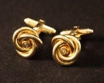 Vintage Anson gold tone metal cufflinks (004/010)