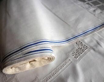 "Vintage 1940s linen toweling cut off the bolt 2 yards x 17.25"" wide blue stripe European linen"