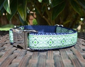 Blue and Green Dog Collar with Navy Blue Nylon Webbing (Adjustable; Metal Buckle)