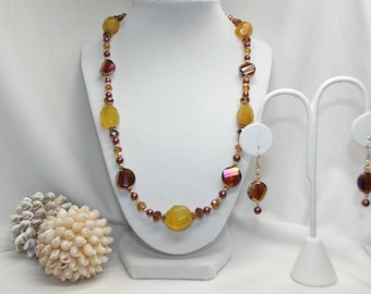 Agate, Pearl, Crystal and Gold Necklace Set