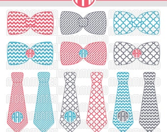 Necktie & Bow Tie SVG Cut Files - Monogram Frames for Vinyl Cutters, Screen Printing, Silhouette, Die Cut Machines, and More