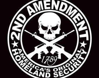 2nd Amendment The Original Homeland Security Guns car decal sticker grenade hand gun window vinyl sticker truck