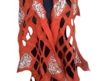 Summer scarf of merino wool for stylish women, scarf, stole, shawl, clothing, for women, wool, silk, clothing of wool, felting, summer 2015