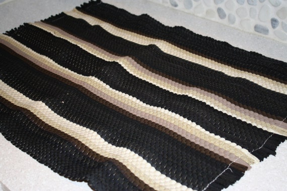 Black And White Rag Rug With Stripes
