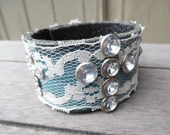 Turquoise Lace Sparkly Rhinestone Studded Crosses Up-Cycled Leather Cuff Bracelet