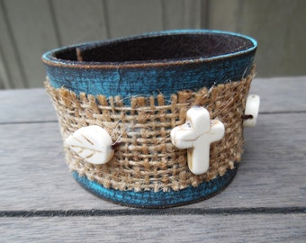 Burlap Turquoise Brown Ivory Feathers Cross Beads Upcycled Distressed Leather Cuff Bracelet
