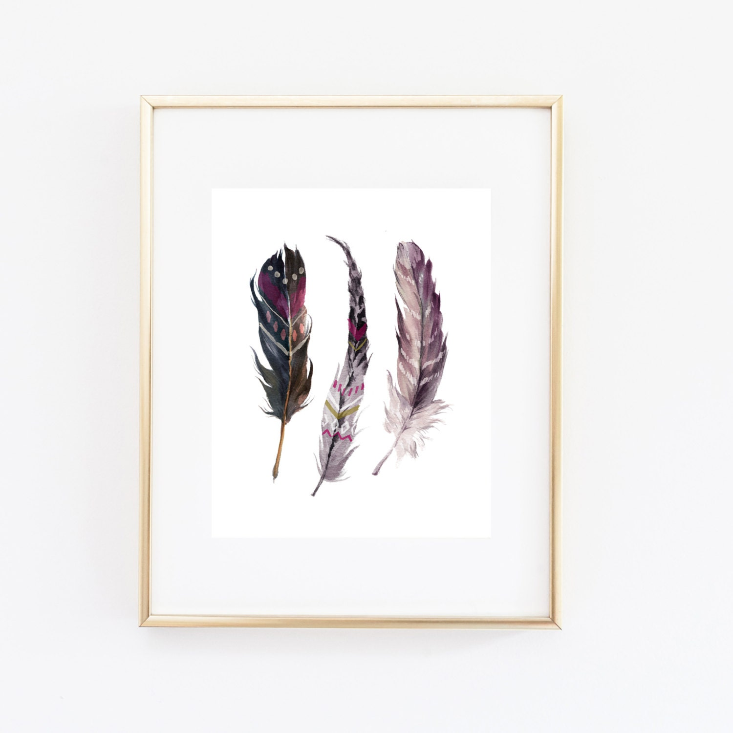 printable wall art feathers download boho watercolor feather