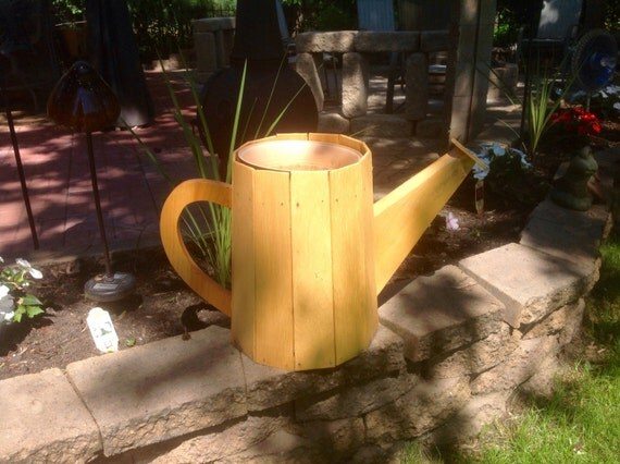Wooden Watering Can Outdoor Garden Decor Plant Holder