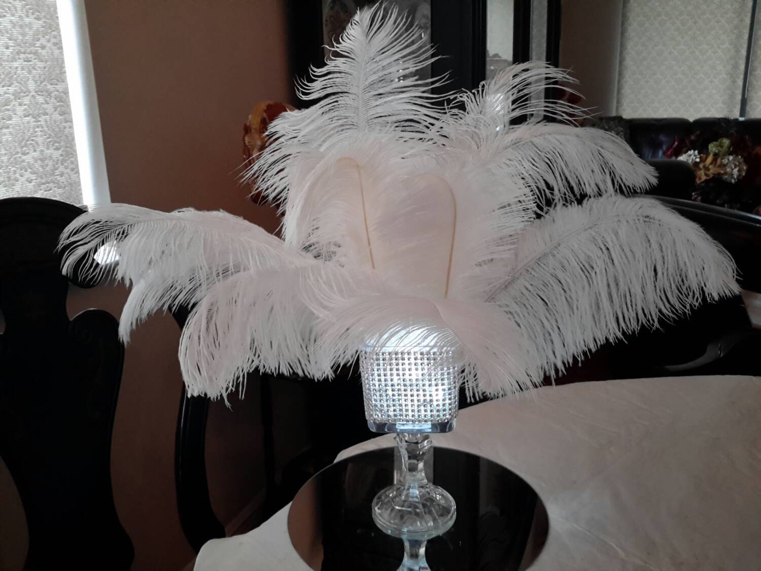 Ostrich feather square lighted bling vase centerpiece
