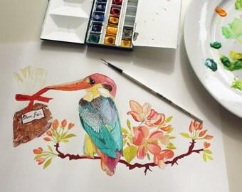 Kingfisher Original gouache painting