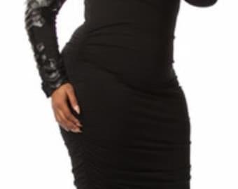 Leather Sleeve Black Dress. (Sizes Small-3X)