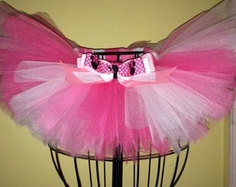 Pink & White tutu...Minnie Mouse tutu! Colors can be changed!