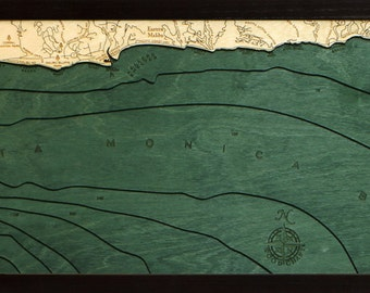 Wood Chart of Malibu, California,  13.5x43 - Narrow