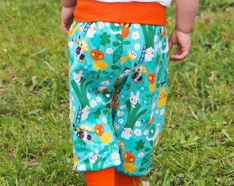 Baby girls harem pants, organic kids pants, kids and toddler leggings. Organic cotton GOTS. Green and Orange cuffs and waist band.