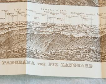 1928 Piz languard Switzerland Antique Panorama
