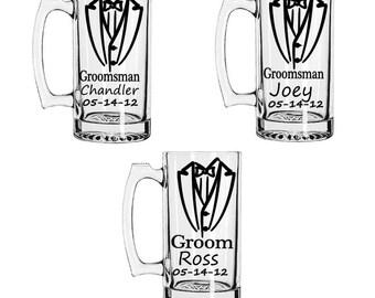 Personalized Groomsmen Gift Beer Mugs with Tux, 28oz Heavy Duty Mugs, Custom Groomsmen Beer Mugs, Unique Groomsmen Mugs, Beer Mug Glasses
