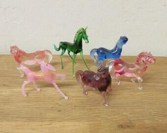 Set of 6 vintage hand-blown art glass horses