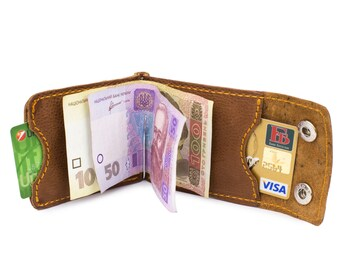 Personalized Leather Money Clip Wallet Mens leather wallet Pocket wallet Bifold wallet
