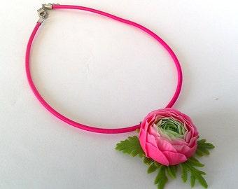 "Pendant ""The ranunculus"" - Pink ranunculus flower pendant-Pink jewelry-Flower jewelry--Floral fashion"