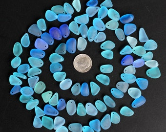10 pcs top drilled beach sea glass lot bulk wholesale blue cobalt aqua turquoise jewelry use