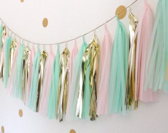 Mint green gold and pink tissue paper tassel garland