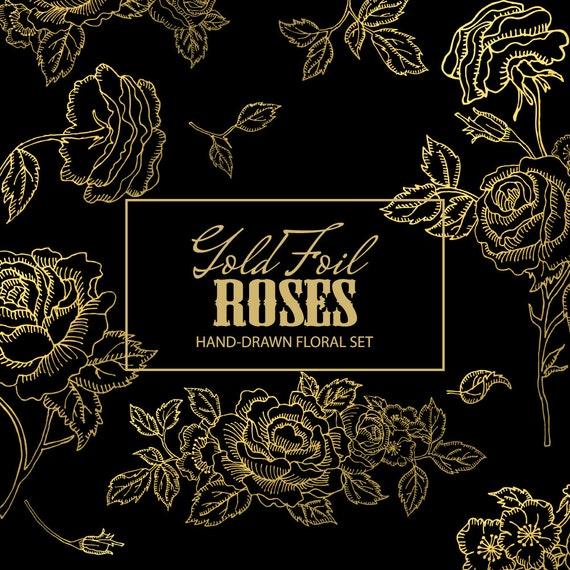 Floral Clipart. Handmade, watercolour clipart, wedding diy elements, flowers - Gold Foil Roses
