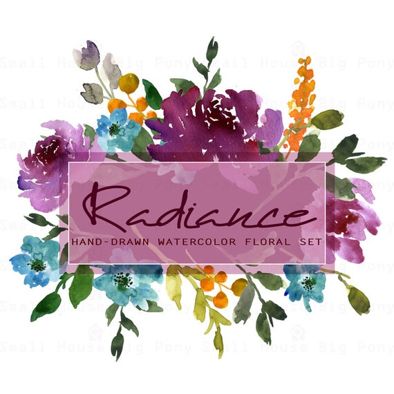Watercolour Floral Clipart. Handmade, watercolour clipart, wedding diy elements, flowers - Radiance