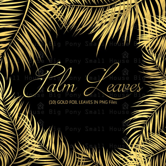 Gold Foil Leaves clipart, Palm Leaves clip art, Gold leaf, Digital clipart, leaves clip art, Digital PNG clip art, gold palm leaves set