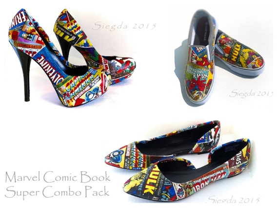 marvel comic book mens slip ons womens heels and flats