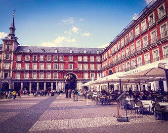 "Spain Photography, Spanish Art Print, Madrid Photograph, Living Room Decor, Red Blue Art, Spanish Square - ""Plaza Mayor"""