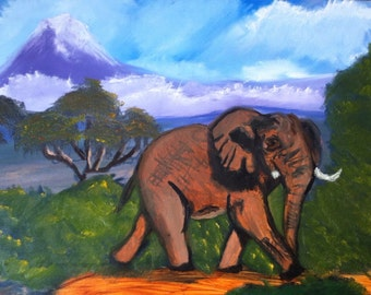 """African Elephant, 24""""x18"""" GLOW in the dark acrylic painting on canvas, wall hanging"""