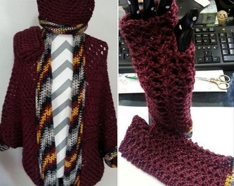 Burgandy Cocoon Sweater Cardigan, w/Hat and Fingerless Gloves