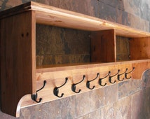 Wide hat & coat rack with shelf. Wall mounted solid wood display shelves with cast iron hooks for hall kitchen bathroom or bedroom