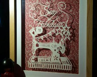 Sew Fabulous Framed Papercut
