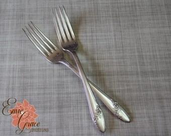 Wedding Fork Set, Mr. & Mrs, Wedding Date, Vintage Silverware, Hand Stamped, Queen Bess 1946