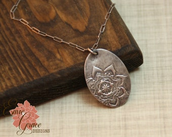 Moroccan Flower Necklace, Fine Silver and Sterling Silver, Precious Metal Clay, Medallion Floral Pendant
