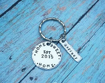 Home Sweet Home - New Homeowners Gift - Personalized - House Warming Gift - New House Keychain