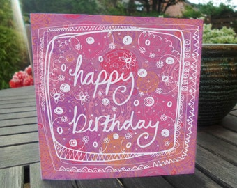 Happy Birthday Steffi Scribbles Card - hand made, decorative girl woman birthday card
