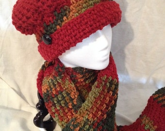 Burgundy Hat and Scarf Set