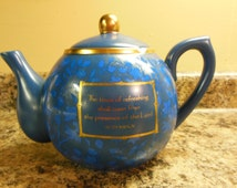 Teapot by DaySpring blue with gold trim
