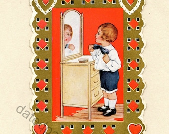 Vintage Open Up Valentine's Day Card Cute Boy Looking in the Mirror Die Cut Whitney Made Art Deco Valentine Red Gold Hearts ~ 2908f