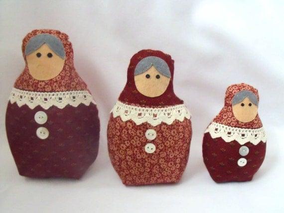 "russian nesting dolls, kawaii dolls, graduated matryoshka babushka dolls, rust red floral and heart fabric, home decor 7"", 6"", 4.5"""