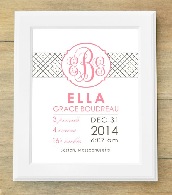 Birth Announcement Wall Art Diamond