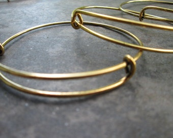 Set of 9 Antique Gold Finish 1 adjustable bangle bracelet blanks expandable bangle bracelets