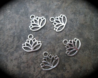 Lotus Charms package of 5 charms perfect for adjustable bangle bracelets Yoga charms
