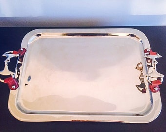 Equestrian Horsebit Vintage Chrome Serving Tray!