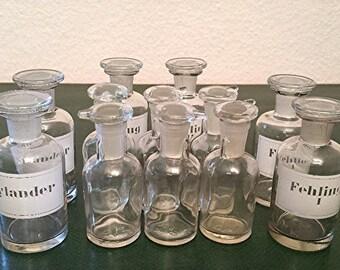 Small Vintage Apothecary Bottles, Glass Jars, Pharmacy Bottles