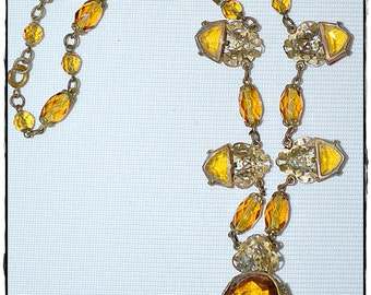 Vintage Antique Victorian Edwardian Amber Faceted Cut Glass And Filigree Pendant Necklace