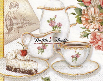 "Set of 2(two) pieces - 3-ply decoupage napkins - ""Tea Time""  - 33x33cm"
