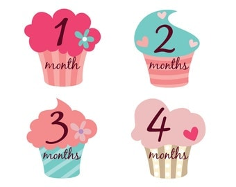Colorful Monthly Onesie Stickers,Cute Cupcake Monthly Onesie Stickers for Girls,Peel Off Stickers,Photo Stickers,Body Suit Stickers,